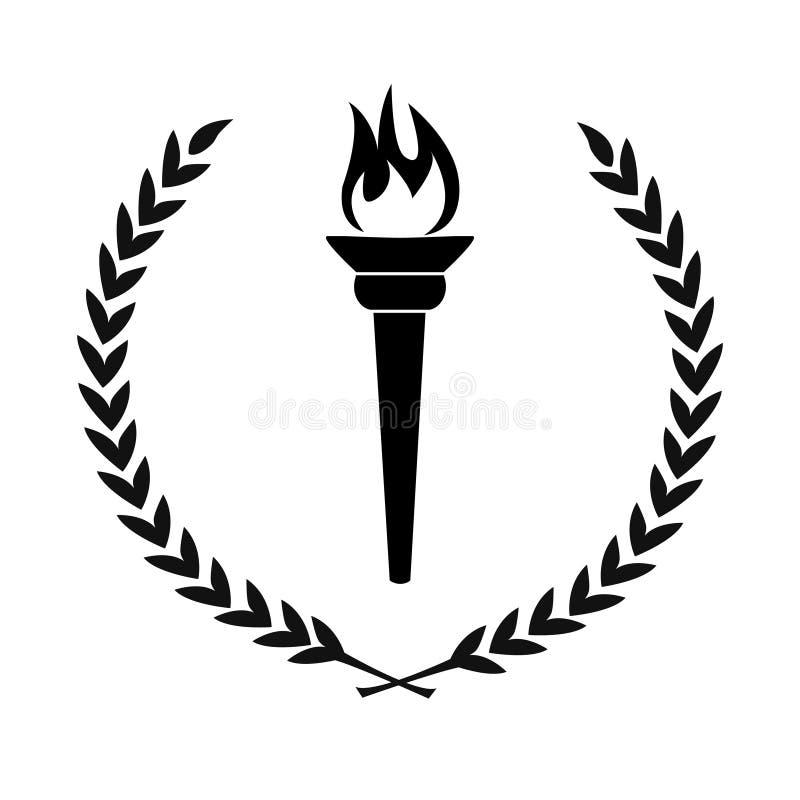 L'icona nera della torcia bruciante della fiamma con la corona dell'alloro lascia il circ illustrazione vettoriale