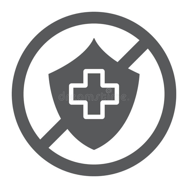 L'icona non assicurata di glifo, la protezione e vita, ha attraversato il segno dello schermo, la grafica vettoriale, un modello  illustrazione vettoriale