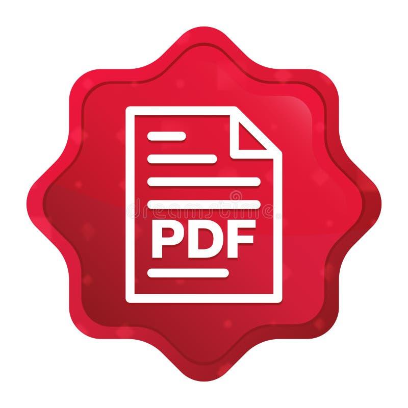 L'icona PDF della pagina del documento nebbiosa è aumentato bottone rosso dell'autoadesivo dello starburst illustrazione di stock