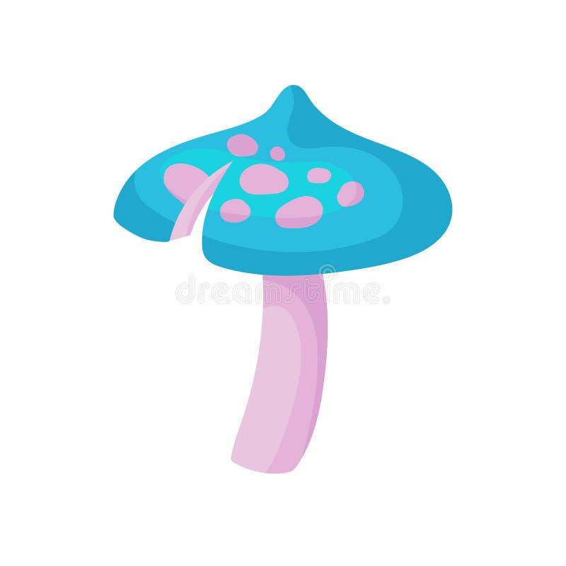 L'icona piana di vettore del fungo magico con il blu ha macchiato il cappuccio ed il gambo rosa Piccola pianta di fantasia royalty illustrazione gratis