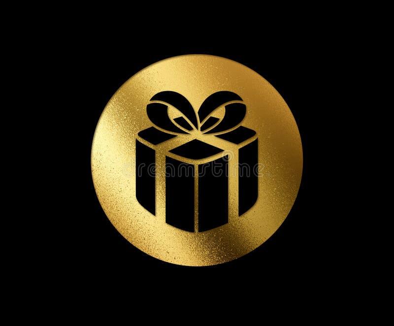 L'icona piana dorata isolata del contenitore di regalo di Natale di scintillio illustrazione vettoriale