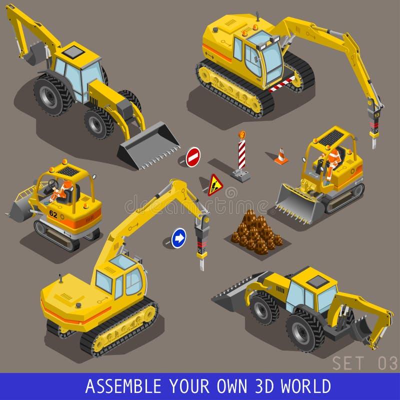 L'icona piana isometrica 3d del trasporto della costruzione della città ha messo 3 illustrazione vettoriale