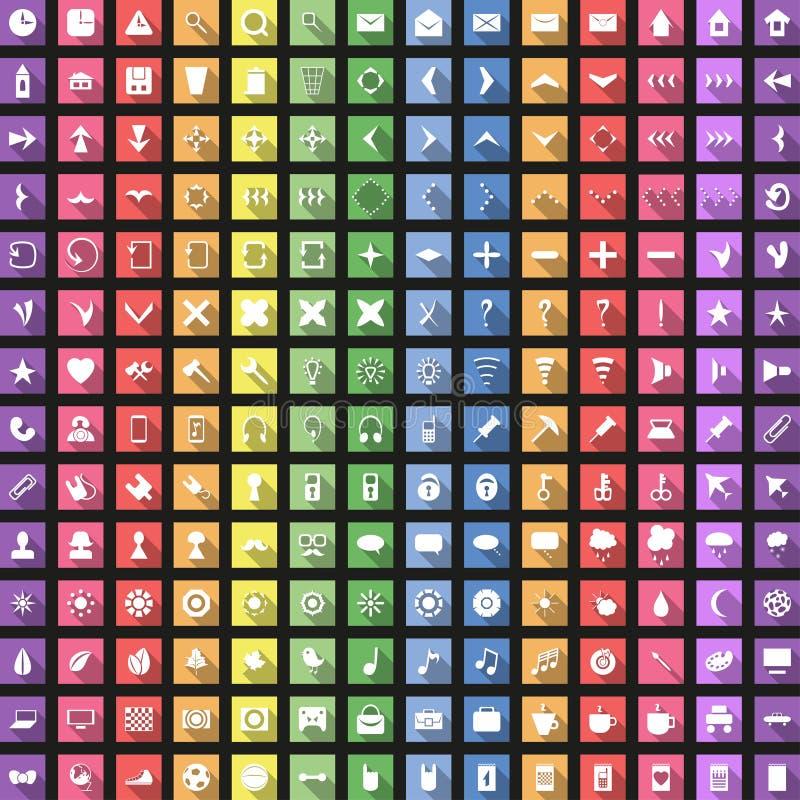 L'icona piana moderna ha messo con ombra lunga per il web royalty illustrazione gratis