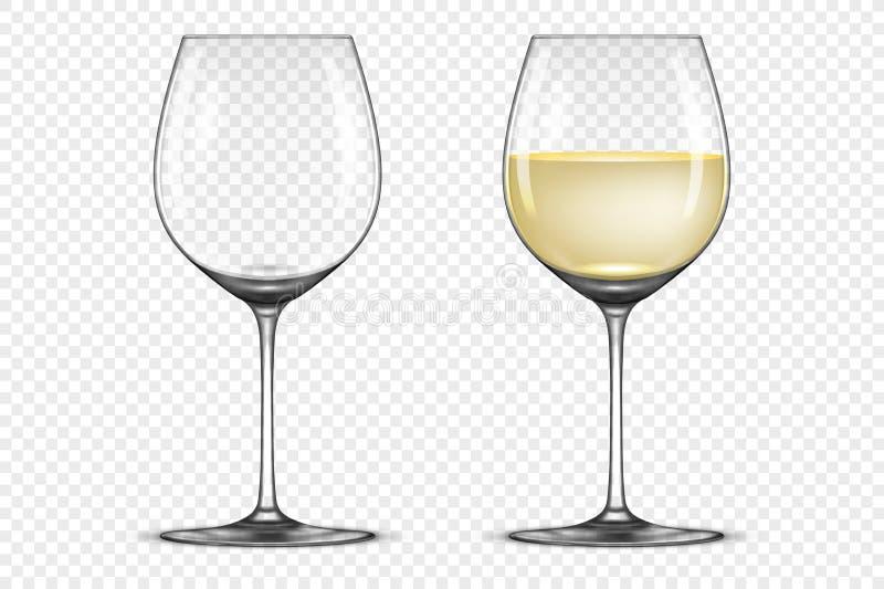 L'icona realistica del bicchiere di vino di vettore ha messo - svuoti e con vino bianco, isolato su fondo trasparente Modello di  illustrazione di stock