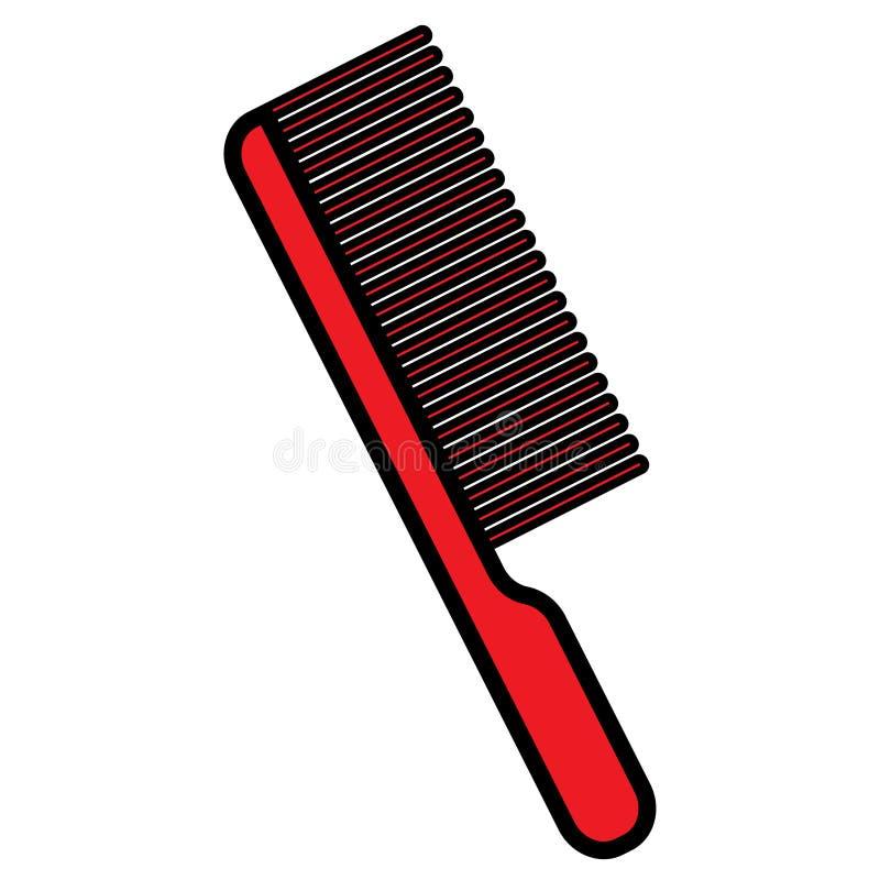 L'icona rossa piana è un pettine affascinante alla moda semplice con una penna ed i denti, lo strumento di un parrucchiere per la illustrazione di stock