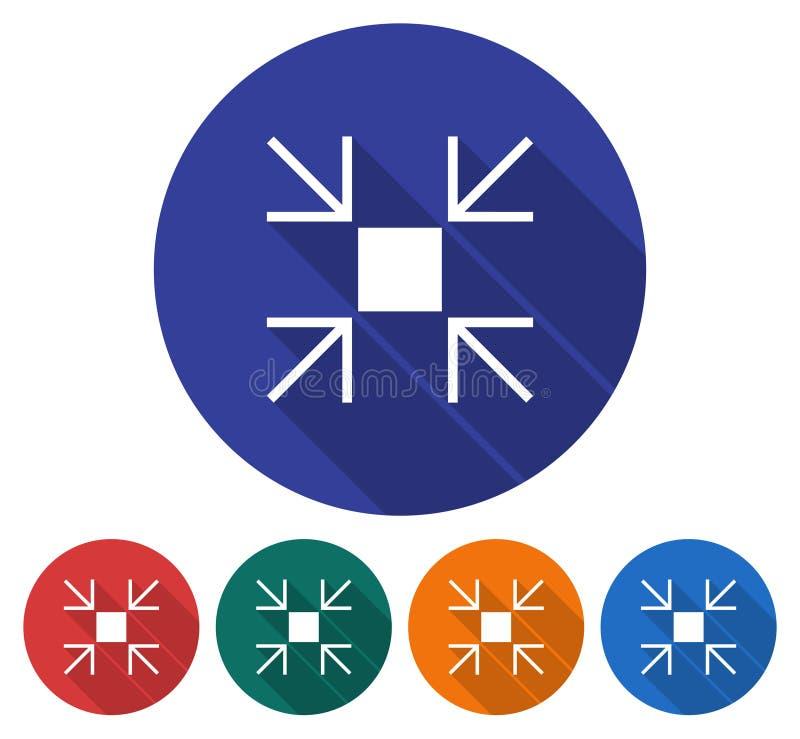L'icona rotonda di riduce le dimensioni dello schermo royalty illustrazione gratis
