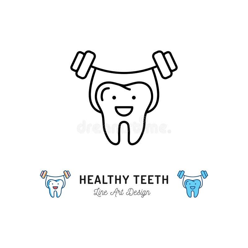 L'icona sana dei denti, forte dente tiene il bilanciere Logo di cure odontoiatriche, linea dentaria icona della clinica Illustraz royalty illustrazione gratis
