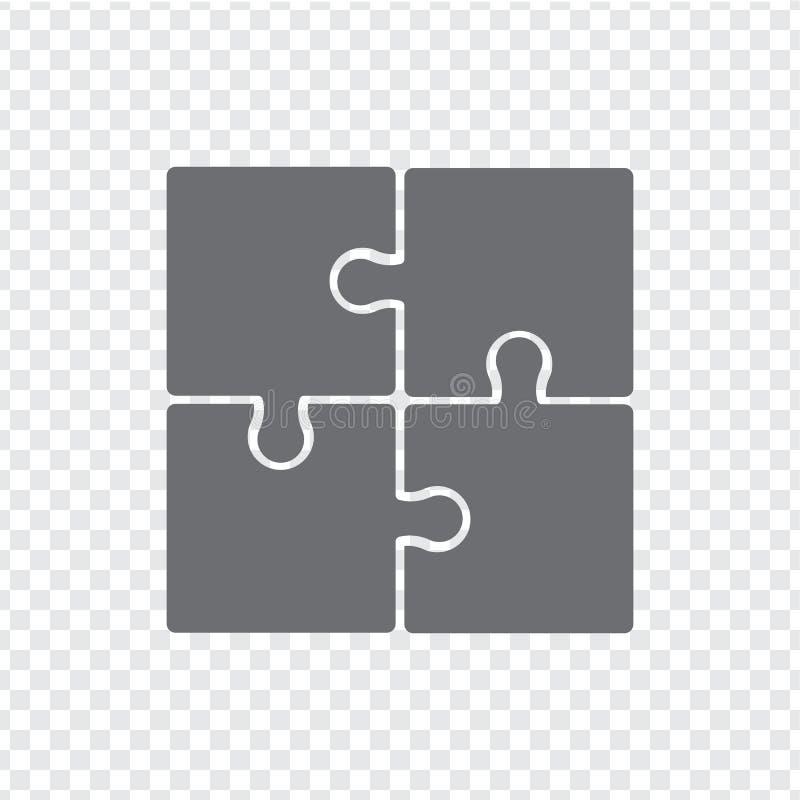 L'icona semplice imbarazza nel grey su un fondo trasparente Puzzle semplice dell'icona dei quattro elementi illustrazione di stock