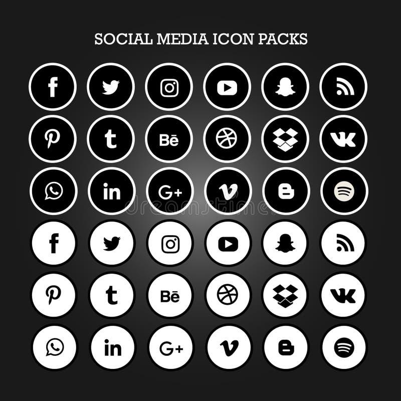 L'icona sociale di media imballa il cerchio pianamente in bianco e nero illustrazione vettoriale