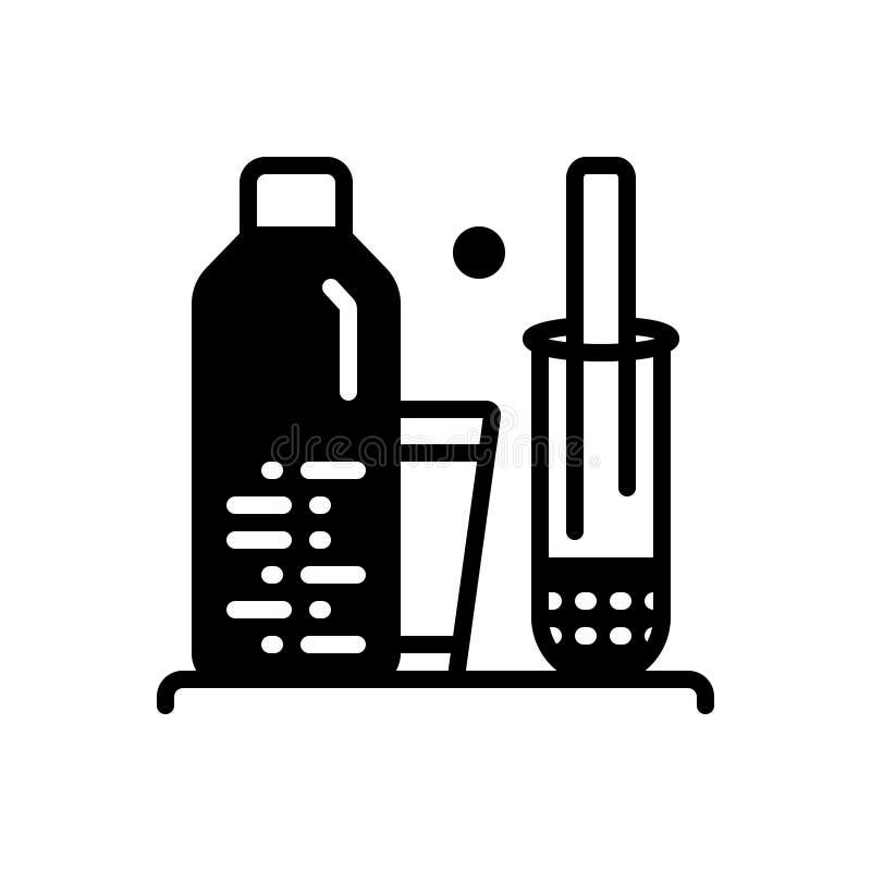 L'icona solida nera per Homogenize, sistematizza e prodotto illustrazione di stock