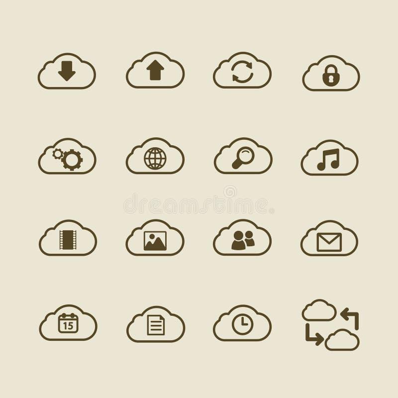 L'iconset de calcul de nuage générique, contournent l'appartement illustration stock