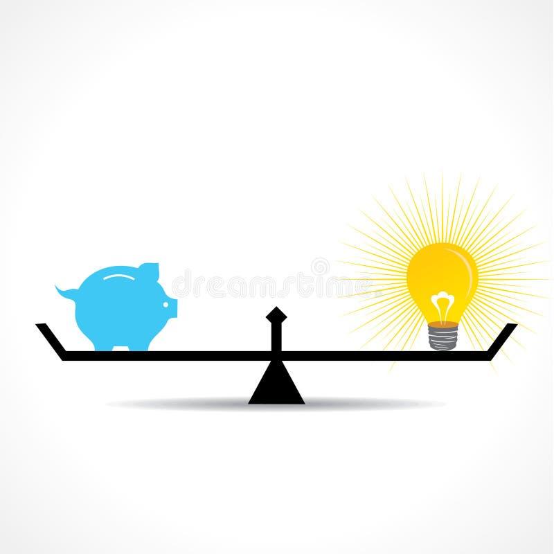L'idée chacun des deux de tirelire et d'ampoule sont égale sur peser le concept illustration stock