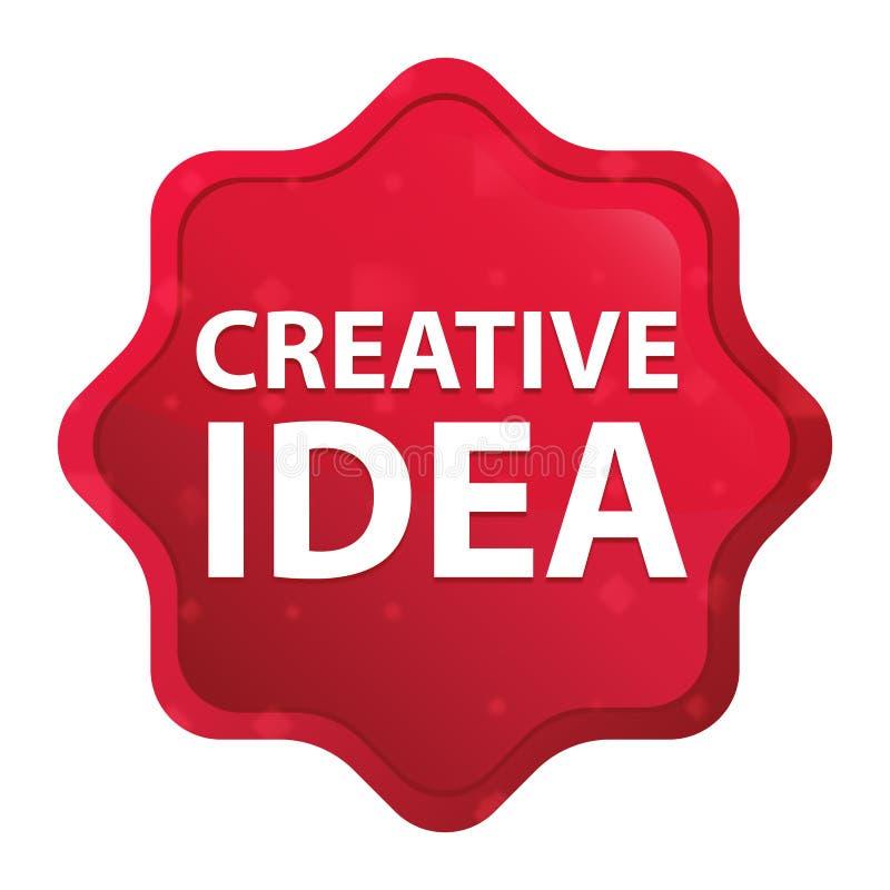L'idée créative brumeuse a monté bouton rouge d'autocollant de starburst illustration libre de droits