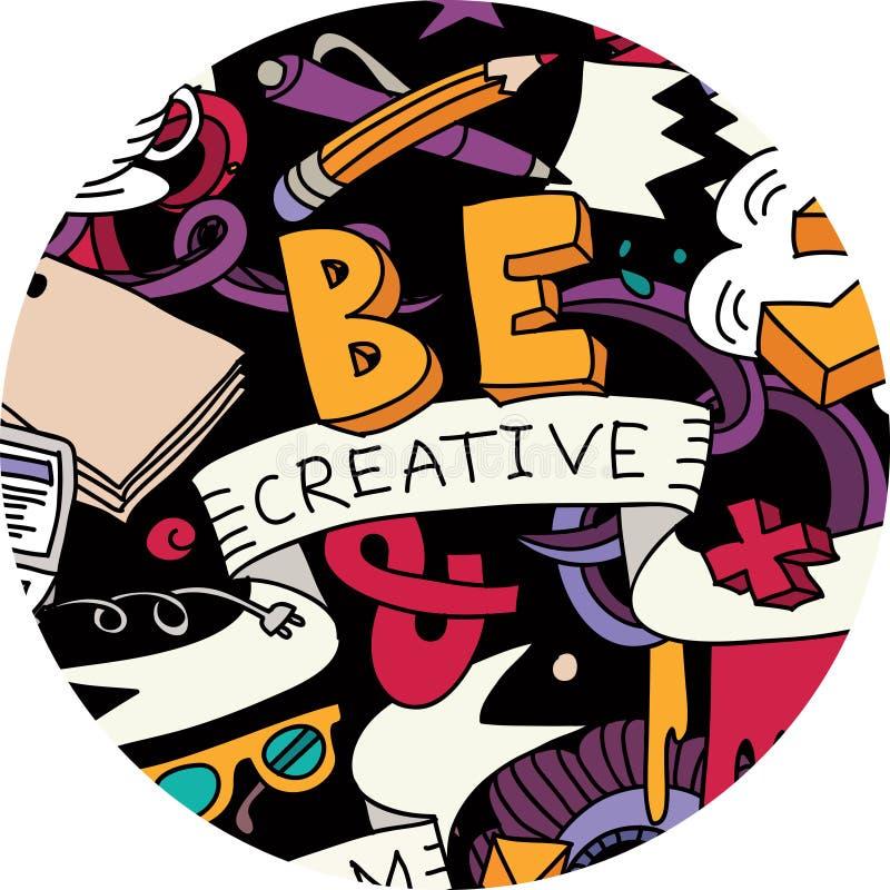 L'idée créative de stylo gribouille la couleur ronde de symbole illustration de vecteur