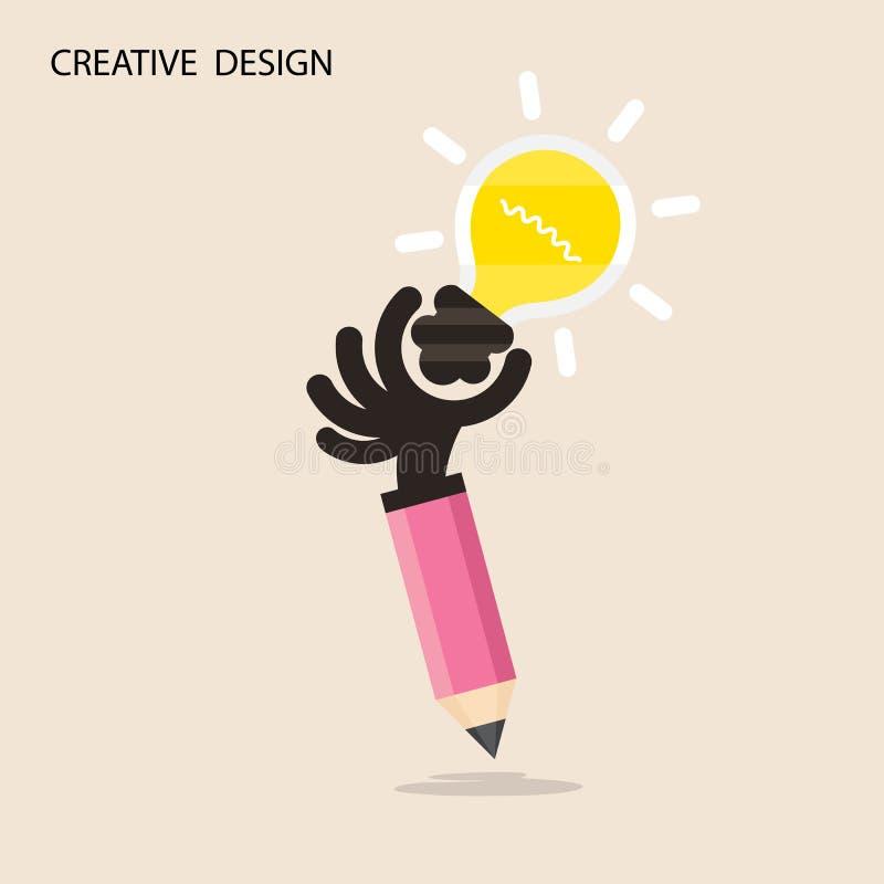 L'idée créative et le crayon de lumière d'ampoule remettent l'icône, conception plate illustration libre de droits