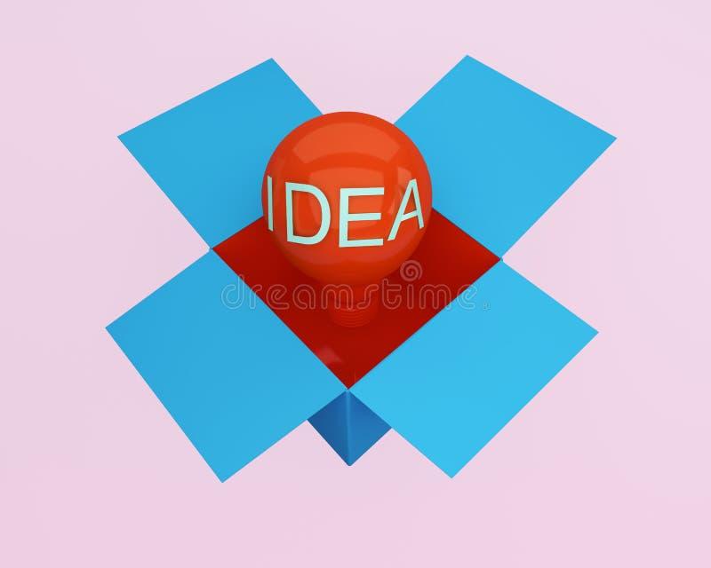 L'idée créative rougeoyante d'ampoules de lumière rouge pensent en dehors de la boîte, MI illustration de vecteur