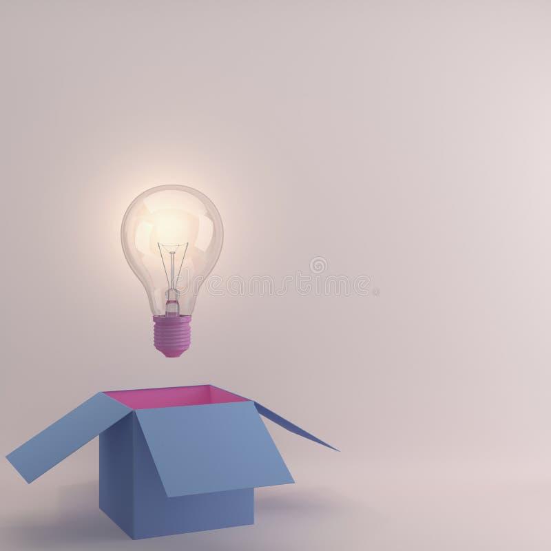 L'idée créative rougeoyante d'ampoules pensent en dehors de la boîte photo stock