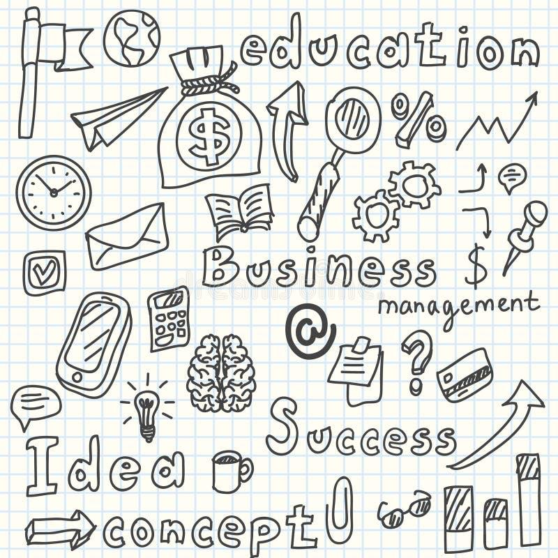 L'idée d'affaires gribouille des icônes réglées Vecteur illustration libre de droits