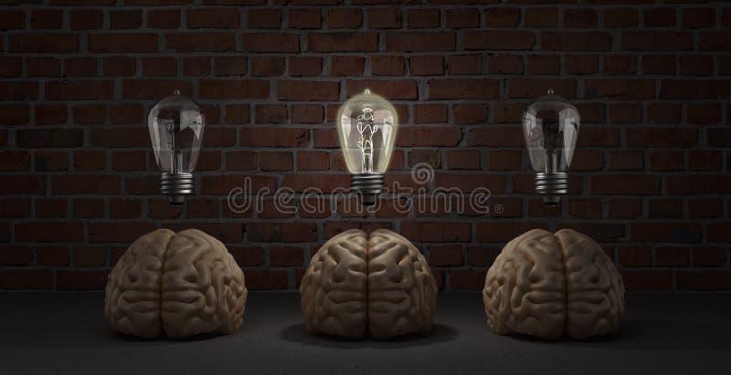 L'idée de concept a surgi mensonge de trois cerveaux sur le plancher et celui d'entre eux illustration libre de droits