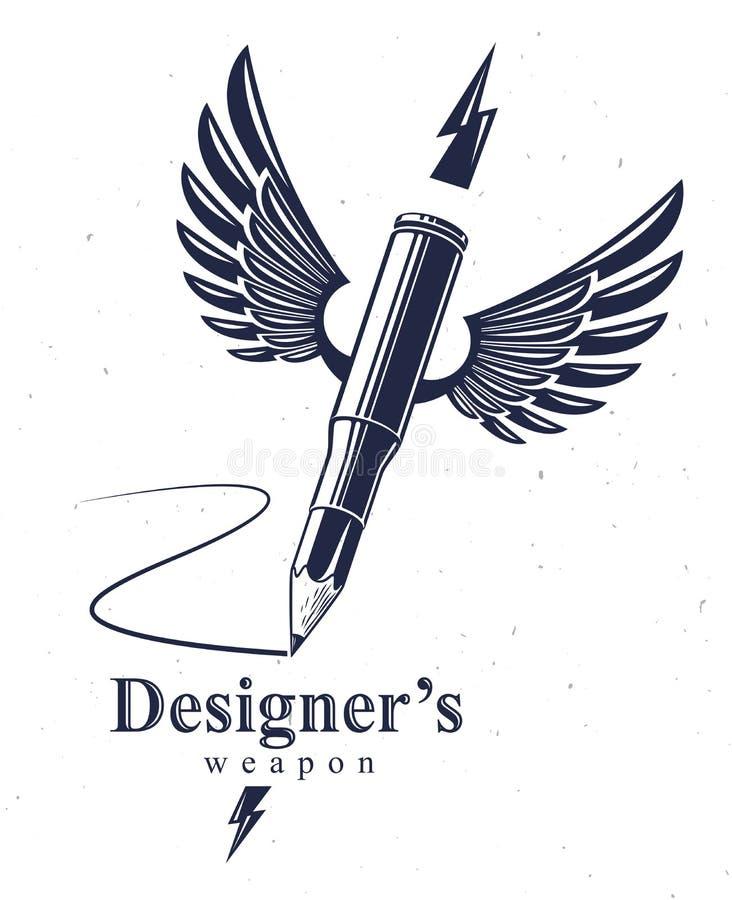 L'idée est un concept d'arme, arme d'un concepteur ou d'une allégorie d'artiste montrée comme étui à ailes d'arme à feu avec le c illustration libre de droits