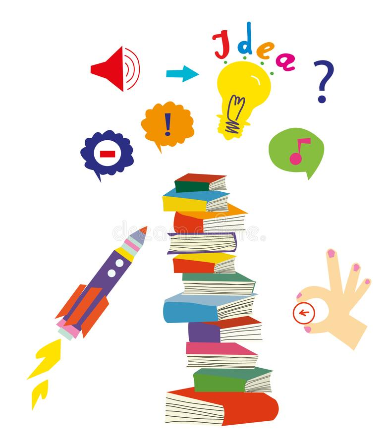 L'idée et l'éducation ont placé avec des livres et des symboles d'imagination, illustration graphique illustration libre de droits