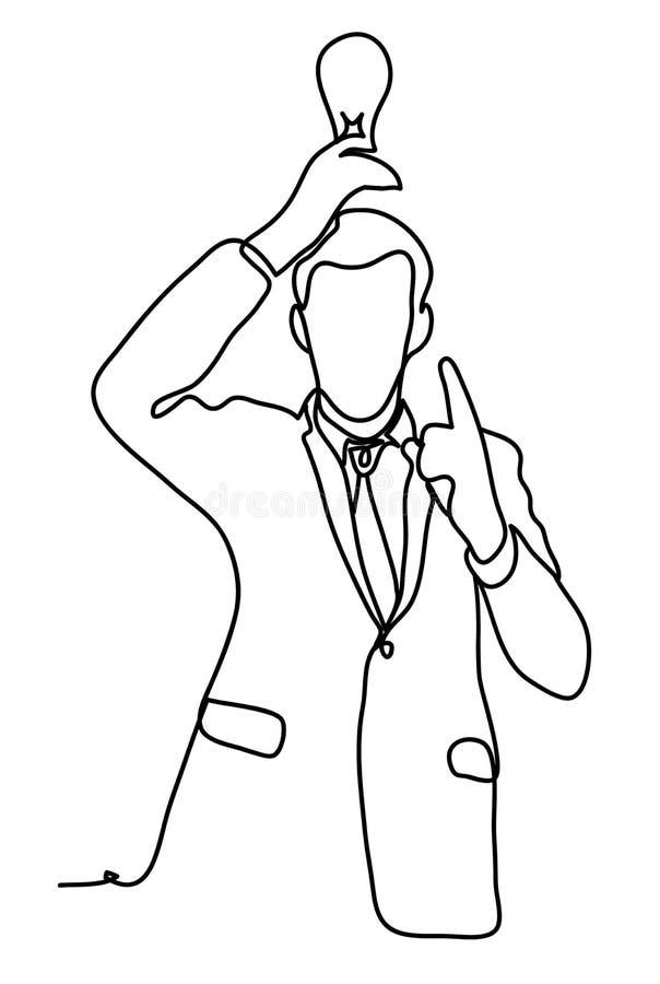 L'idée Homme d'affaires jugeant une ampoule aérienne Concept d'affaires Dessin au trait continu D'isolement sur le blanc illustration stock