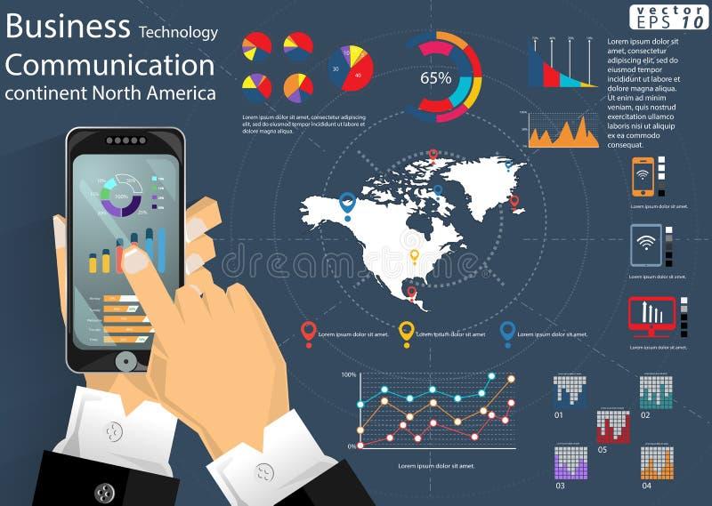 L'idée moderne et le concept du monde continent de communication de technologie d'affaires de téléphone portable dirigent le cali illustration stock