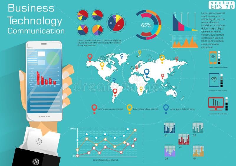L'idée moderne et le concept du monde continent de communication de technologie d'affaires de téléphone portable dirigent le cali illustration libre de droits