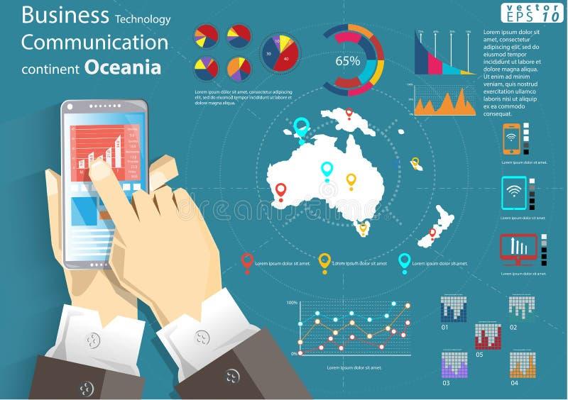 L'idée moderne et le concept du monde continent de communication de technologie d'affaires de téléphone portable dirigent le cali illustration de vecteur