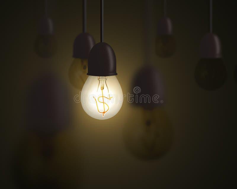 L'idea è concetto dei soldi, lampadina con il simbolo dei soldi dentro illustrazione vettoriale