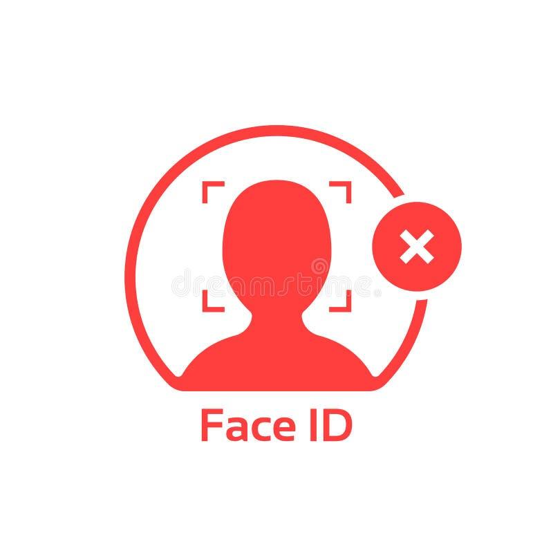 L'identification de visage décommandent le logo rouge d'isolement sur le blanc illustration de vecteur