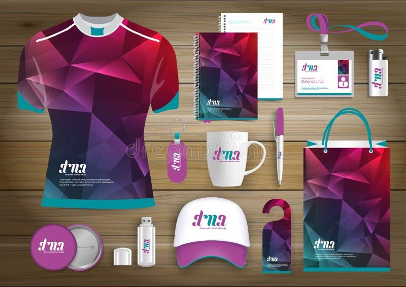 L'identità corporativa di affari degli articoli da regalo, Vector il colore che astratto i ricordi promozionali progettano con gl illustrazione di stock