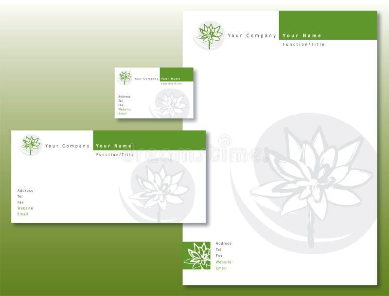 L'identité de corporation a placé - le vert/gris de fleur de lotus illustration libre de droits