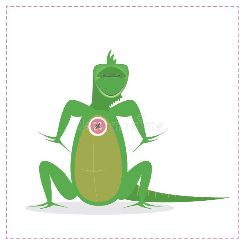 L'iguana verde, gli animali esotici, rettili Vector il fumetto illustrazione di stock
