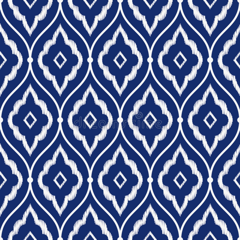 L'ikat persan sans couture de vintage de bleu et de blanc d'indigo de porcelaine modèlent le vecteur illustration stock