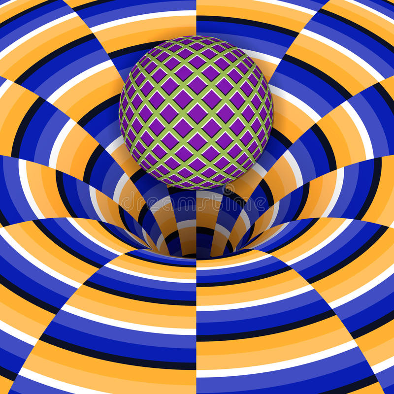 L'illusion optique de la boule tombe dans un trou illustration de vecteur