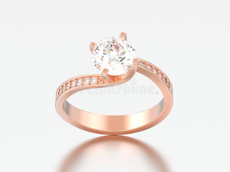 l'illusione rosa di impegno dell'oro dell'illustrazione 3D ha torto il ri del diamante illustrazione di stock
