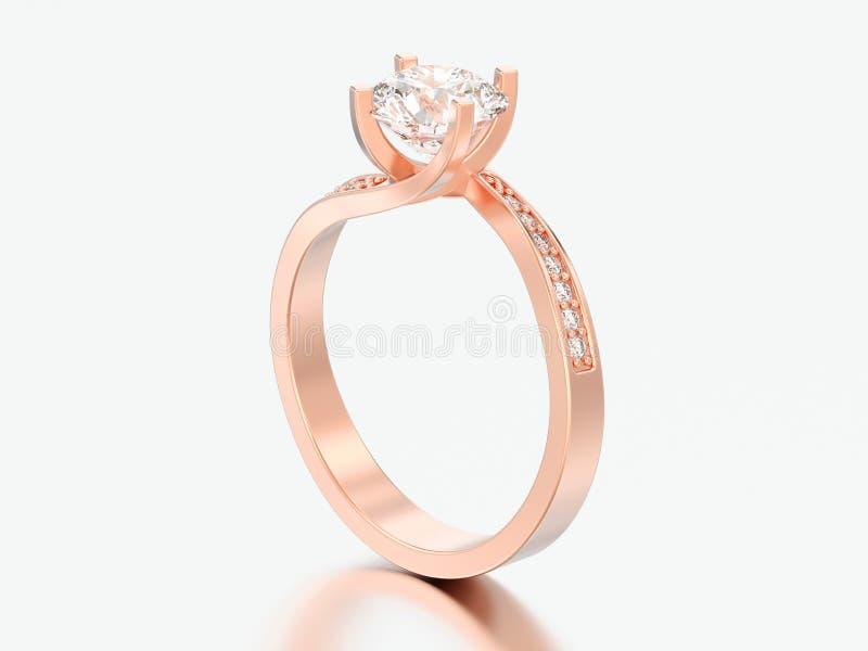 l'illusione rosa di impegno dell'oro dell'illustrazione 3D ha torto il ri del diamante illustrazione vettoriale