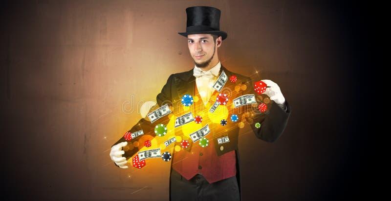 L'illusionniste créent avec ses personnels de jeu de main photographie stock