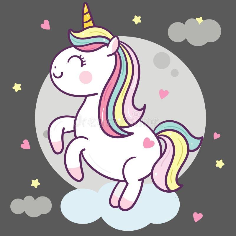 L'illustrateur d'Unicorn Vector sautent sur l'air avec la lune et le sta illustration libre de droits