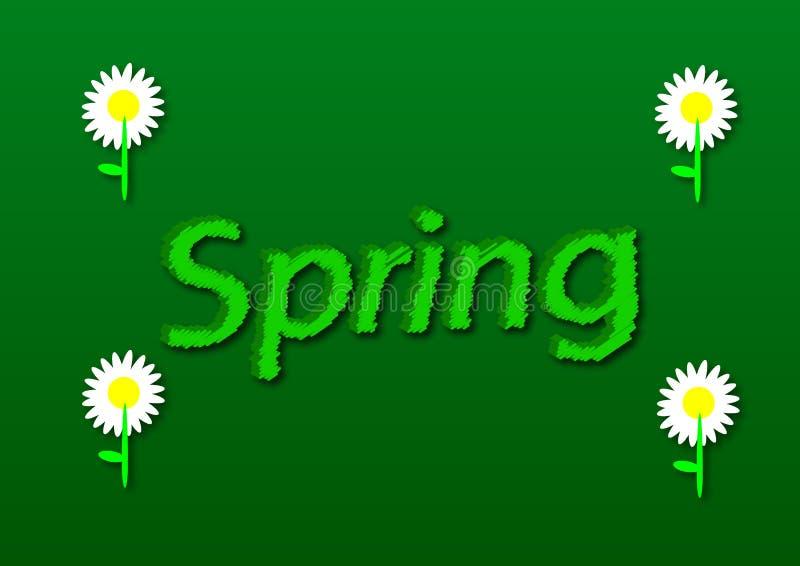 L'illustration, écrivent le ressort avec des fleurs de marguerite dans un backgro vert illustration stock