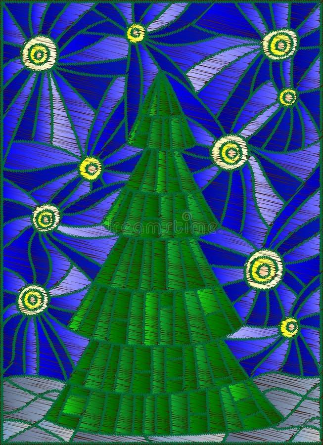 L'illustration abstraite avec l'arbre de Noël contre le ciel étoilé a stylisé le fil de broderie illustration libre de droits