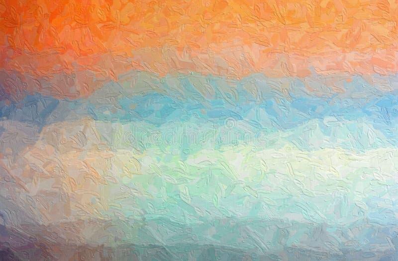 L'illustration abstraite d'Impasto orange, bleu et gris avec la grande brosse frotte le fond photo libre de droits