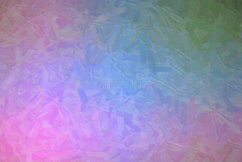 L'illustration abstraite de la peinture à l'huile vert-bleu et rose avec la grande brosse frotte le fond, digitalement produit image libre de droits