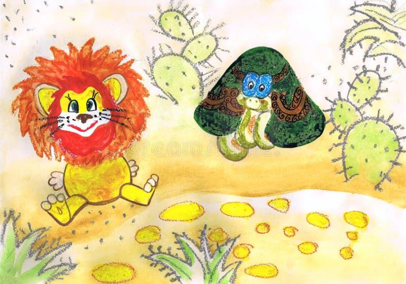 L'illustration au ` animé de film comme jeune lion et tortue a chanté le ` de chanson Dessin du ` s d'enfants illustration de vecteur