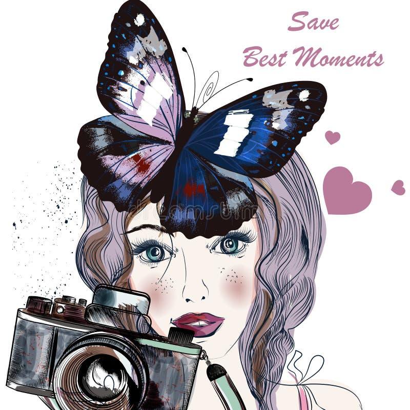L'illustration avec assez le bleu tiré par la main a observé la fille tenant un vin photographie stock