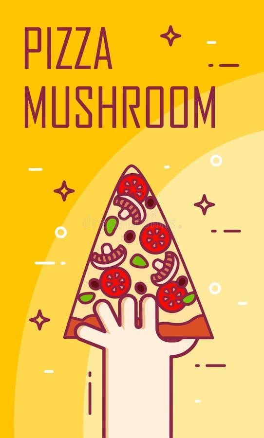 L'illustration avec la main et la tranche de pizza répandent Bannière de vecteur pour les aliments de préparation rapide Ligne mi illustration de vecteur