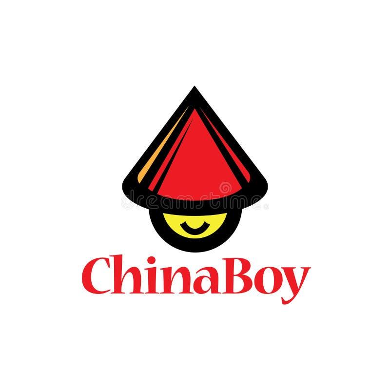 L'illustration chinoise de vecteur d'icône de garçon sur le blanc a isolé le fond illustration libre de droits