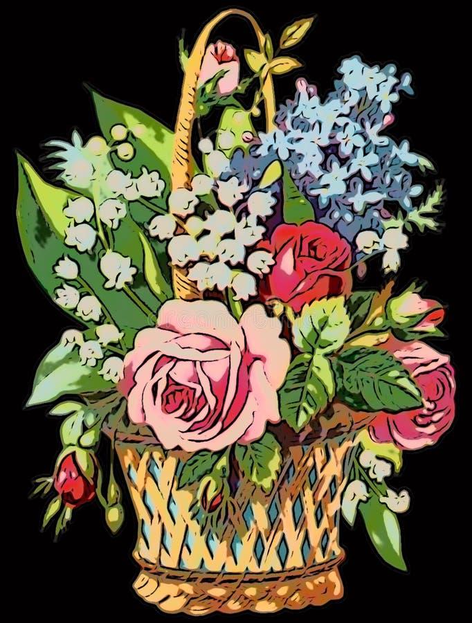 Download L'illustration Colorée Du Bouquet De Vintage Des Fleurs Avec A Monté Illustration Stock - Illustration du noir, lames: 87701253