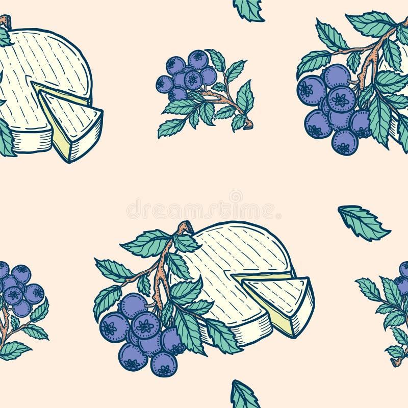 L'illustration colorée tirée par la main de fond de vecteur des myrtilles s'embranchent les feuilles et la tête de fromage illustration stock